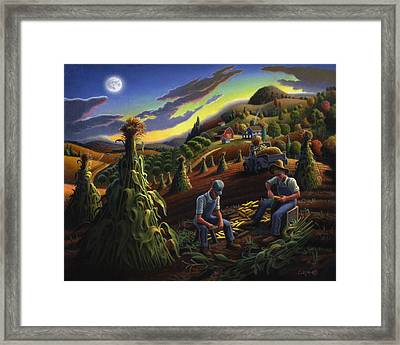 Autumn Farmers Shucking Corn Appalachian Rural Farm Country Harvesting Landscape - Harvest Folk Art Framed Print by Walt Curlee