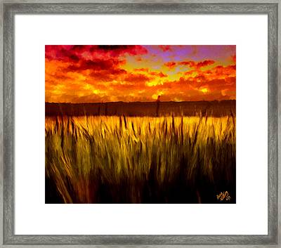 Autumn Field At Sunset Framed Print