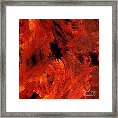 Autumn Fire Abstract Square Framed Print by Andee Design