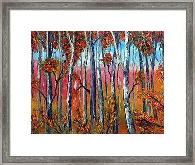 Autumn Fire  Palette Knife Oil Painting  No Brush Framed Print