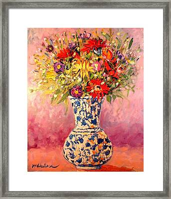 Framed Print featuring the painting Autumn Flowers by Ana Maria Edulescu