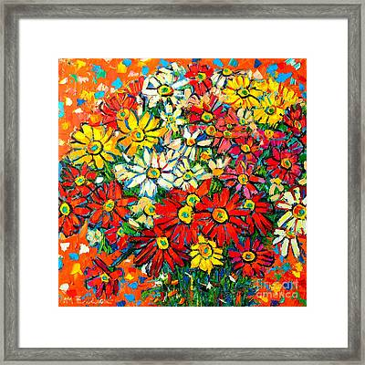 Autumn Flowers Colorful Daisies  Framed Print by Ana Maria Edulescu