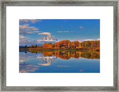 Autumn Foliage At The Oxbow Framed Print
