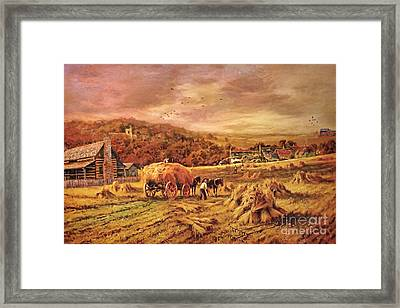 Autumn Folk Art - Haying Time Framed Print by Lianne Schneider