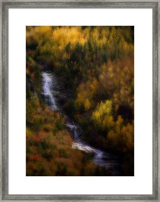 Framed Print featuring the photograph Autumn Forest Falls by Ellen Heaverlo