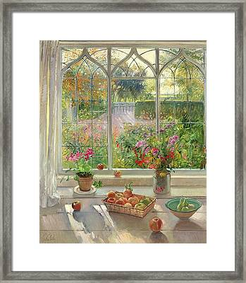Autumn Fruit And Flowers, 2001 Oil On Canvas Framed Print