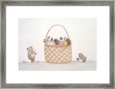 Autumn Fruit Basket And Bears Framed Print by Christine Corretti