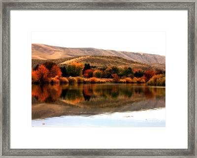 Autumn Glow On The Yakima River Framed Print by Carol Groenen