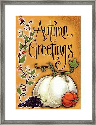 Autumn Greetings Pumpkin Framed Print by Anne Tavoletti