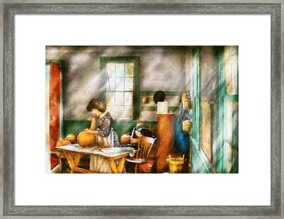 Autumn - Halloween - Carving A Pumpkin Framed Print by Mike Savad
