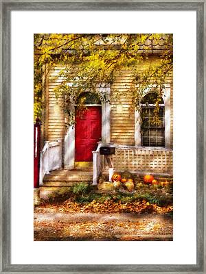 Autumn - House - A Hint Of Autumn  Framed Print by Mike Savad
