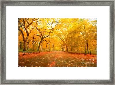 Autumn In Central Park Framed Print by Veikko Suikkanen