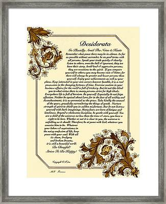 Autumn In Florence Desiderata Poster Framed Print by Desiderata Gallery