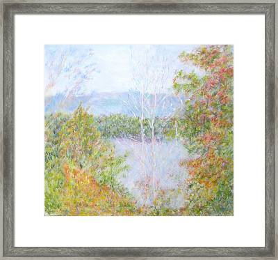 Autumn By The Lake In New Hampshire Framed Print
