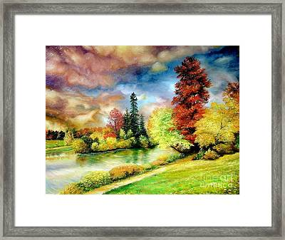 Framed Print featuring the painting Autumn In Park by Sorin Apostolescu