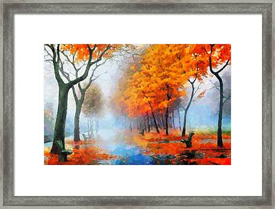 Autumn In The Morning Mist Framed Print