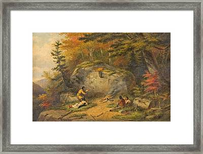 Framed Print featuring the painting Autumn In West Canada Chippeway Indians by Cornelius Krieghoff