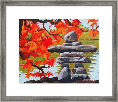 Autumn Inukshuk Framed Print