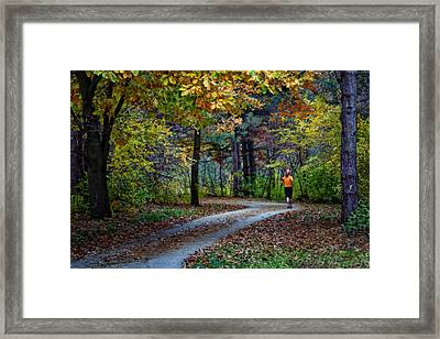 Autumn Jog Framed Print by Nikolyn McDonald