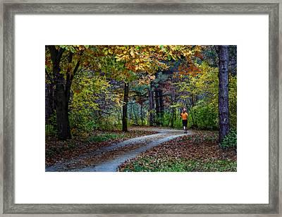 Autumn Jog Framed Print