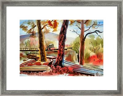 Autumn Jon Boats I Framed Print by Kip DeVore