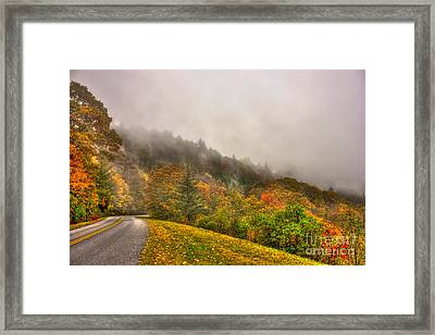 Autumn Just Around The Bend Blue Ridge Parkway In Nc Framed Print