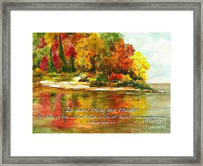 Autumn Lake 1 Thessalonians 5  Framed Print