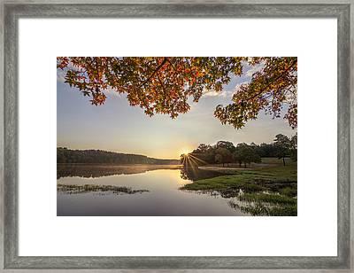 Autumn Lake Sunrise In East Texas Framed Print