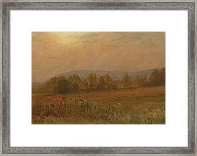 Autumn Landscape New England Framed Print by Albert Bierstadt