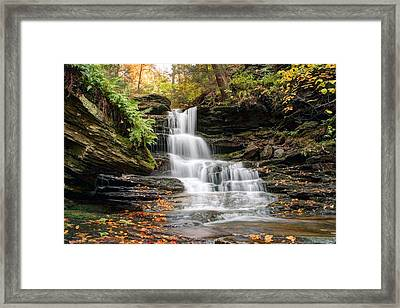 Autumn Leaves Below The Nameless Hidden Waterfall Framed Print by Gene Walls