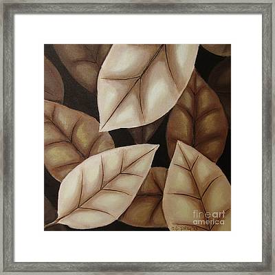Autumn Leaves In Sepia Framed Print by Anna Bronwyn Foley