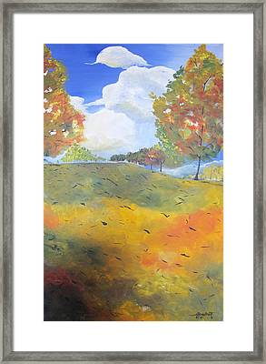 Framed Print featuring the painting Autumn Leaves Panel 2 Of 2 by Gary Smith