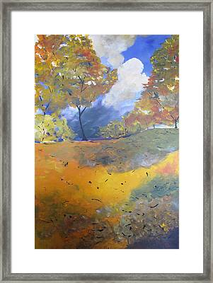 Framed Print featuring the painting Autumn Leaves Panel1 Of 2 Panels by Gary Smith
