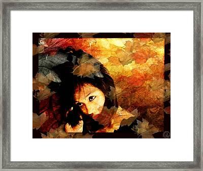 Autumn Leaves Whirling Framed Print by Gun Legler
