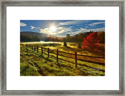 Autumn Meadow Sunrise I - West Virginia Framed Print by Dan Carmichael