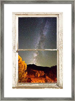 Autumn Milky Way Night Sky Rustic Window View Framed Print