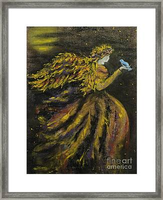 Autumn Moon Angel Framed Print