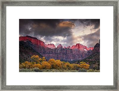 Autumn Morning In Zion Framed Print