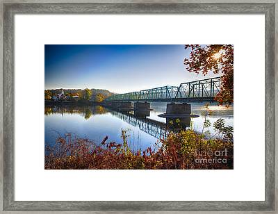 Autumn Morning View Of The New Hope Lambertville Bridge  Framed Print by George Oze