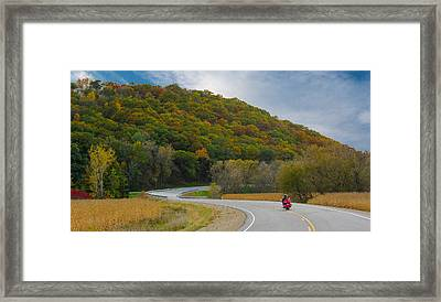 Autumn Motorcycle Rider / Orange Framed Print