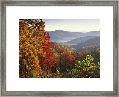 Autumn On Blue Ridge Range Near Jumping Framed Print