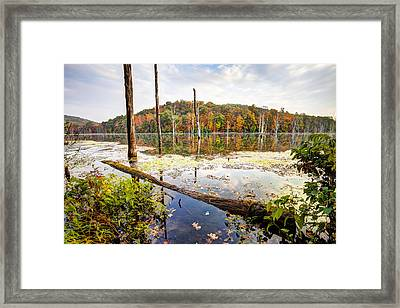 Autumn On Monksville Reservoir - Long Pond Ironworks Framed Print by Gary Heller