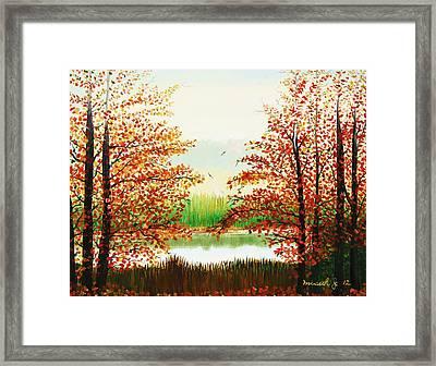 Autumn On The Ema River Estonia Framed Print