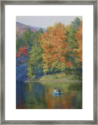 Autumn On The Lake Framed Print by Marna Edwards Flavell