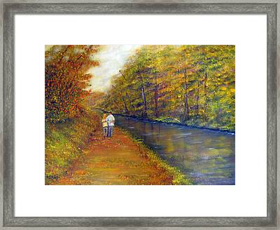 Autumn On The Towpath Framed Print by Loretta Luglio