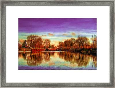 Autumn Park Framed Print by Ayse Deniz