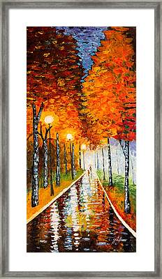 Autumn Park Night Lights Palette Knife Framed Print by Georgeta  Blanaru