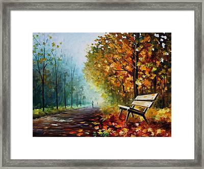 Autumn Park - Palette Knife Oil Painting On Canvas By Leonid Afremov Framed Print