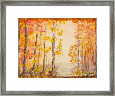 Framed Print featuring the painting Autumn Path by Cathy Long