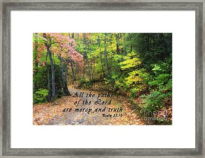 Autumn Path With Scripture Framed Print